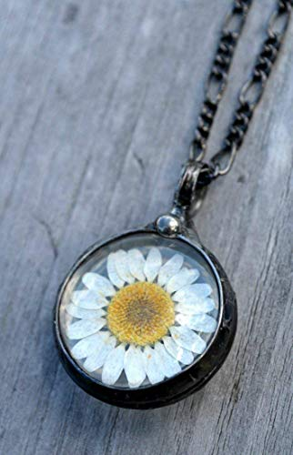 Artisan Made, Real Dry Pressed Daisy in Glass Pendant, Handmade Wildflower Jewelry, Boho Necklace April Birth Flower 2559m
