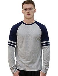 "<span class=""a-offscreen"">[Sponsored]</span>Allegra K Men Color Block Stripes Crew Neck Raglan Long Sleeves Varsity T-Shirt"