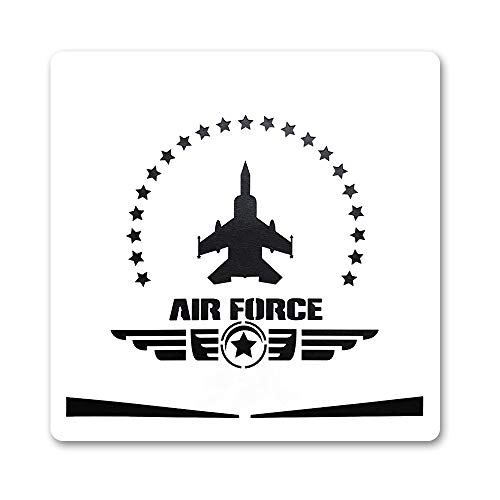 Large U.S Air Force Painting Stencil for Painting on Wood Fabric Walls Airbrush Reusable Mylar Template 12 x 12 inch (USAF Military ()