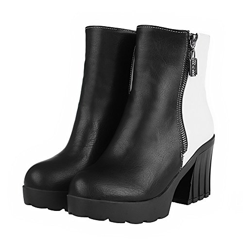 Black Round Soft Heels Color Zipper Closed Assorted Toe High Women's Boots AgooLar Material Xw1q4x7AW