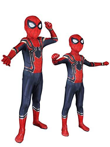 Cimno Halloween Cosplay Lycra Bodysuit Superhero Onesie Iron Spider Costume for Kids,XS