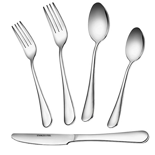 Flatware Set, 5 Piece Stainless Steel Silverware Set, Umite Chef Kitchen Hotel Restaurant Tableware Cutlery Set, Include 2 Fork/2 Spoon/Knive, Mirror Finished, Dishwasher Safe (Polish Stainless Steel Flatware)