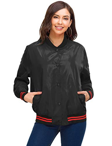 ZHENWEI Women Bomber Jacket Classic Quilted Lightweight Flight Bomber Jacket Coat Button Down Long Sleeve Multi-Pockets Ribbed Trim Coats