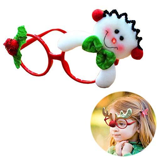 Unetox Christmas Fancy Dress Glasses Frame Santa Claus Glasses Christmas Costume Ornaments Party Decoration Glasses Without Lenses 1pcs (Snowman) -