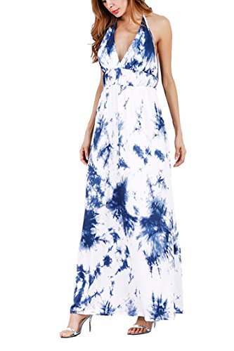 Meenew Women's Sleeveless V Neck Casual Beach Boho Printed Maxi Dress Blue XL