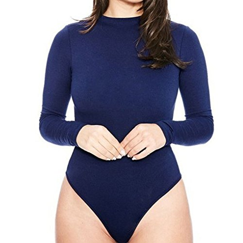 OUR WINGS Women Stretchy Turtleneck Long Sleeve Bodysuit (M, Style2 Deep Blue) (Bodysuit Turtleneck)