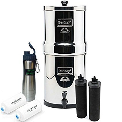 Berkey Big Berkey Drinking Water Filtration System Bundle with 4 Filters (2 Black Filters, 2 Fluoride Filters) and Stainless Steel Water Bottle, 2.25 Gallon-New by Berkey