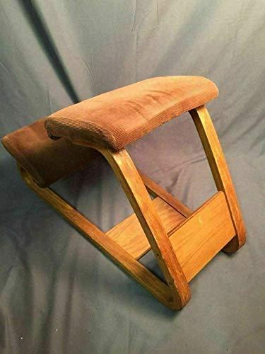 PHOENIX FINDS TREASURES Bent Oak Ergonomic Kneeling Chair Vintage Mid Century Mod Rare Corduroy Fabric (1970s Chair)