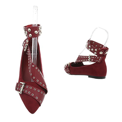 127 Classiche Tacco Scarpe Bourgogne 18 A Donna Ballerine Ital Da Blocco design 1aFfZvTqv