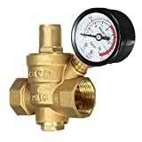 3 4 in water pressure regulator - TOLOVI 1pc DN20 3/439;39; Water Pressure Reducing Valve Adjustable Brass Regulator Valves with Gauge Meter