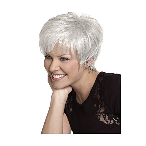 Beauty : LEJIMEI Short Wigs With Bangs -Silver White Synthetic Hair Wigs for White Women daily use Fashion Full Wig + Free Wig Cap