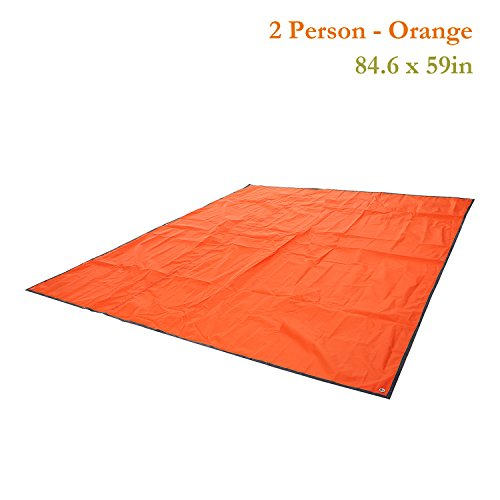 Multipurpose Waterproof Tent Tarp Footprints Outdoor Camping Shelter Canopy Cover Blanket Mat (Orange 7×5 ft)