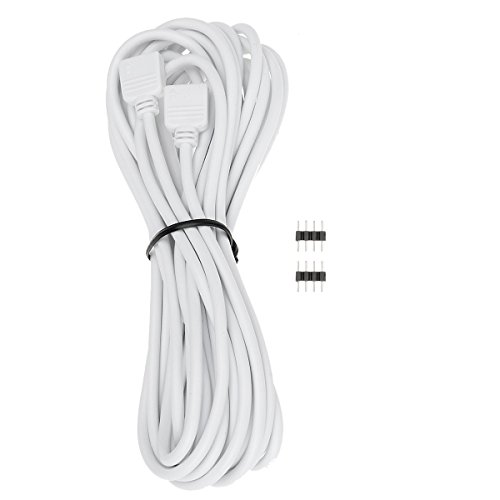 EPBOWPT 5M 16.4ft 4Pin RGB LED Extension Cable Wire Connector 4Pin Female Plug with 2 4Pin Connectors for RGB 3528 5050 LED Strip Light