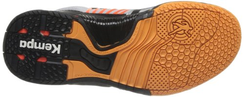 Kempa Cyclone XL 2008474 - Zapatillas de balonmano de caucho para hombre, color plateado, talla 41 EU (7.5 Herren UK) Plateado (Silber (silber/schwarz/fluo rot 02))