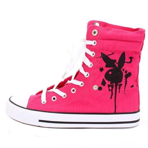 Playboy Pb1040 Fashion-Sneakers, Pink Black Canvas, 6