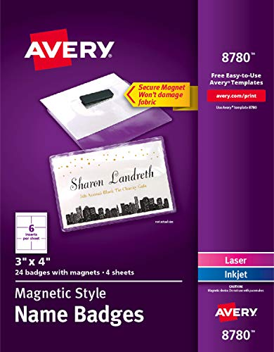 (Avery Secure Magnetic Name Badges, Durable Plastic Holders, Heavy-Duty Magnets, 3 x 4, 24 Badges (8780))