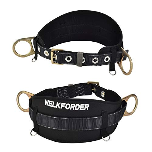 WELKFORDER Tongue Buckle Body Belt with Hip Pad and 2 Side D-Rings Personal Protective Equipment Safety Harness | Waist Fitting Size 32'' to 46'' for Work Positioning, - D-ring Safety Harness