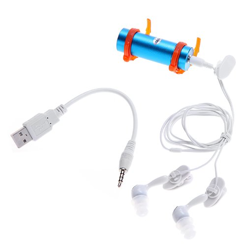 TOMTOP 4GB Swimming Diving Water Waterproof MP3 Player FM Radio Earphone Blue