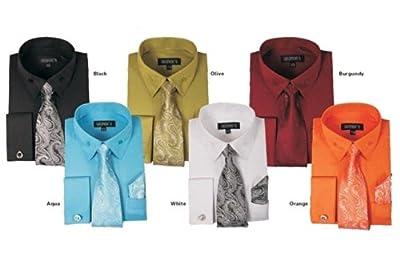 George's Unique Fabric Dress Shirts w/Matching Tie,Hankie,Cuff & Cufflink AH619