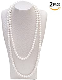 """2pcs BeautyMood 60"""" White Pearl Bead Necklaces Flapper Beads Party Accessory Beads Accessory"""