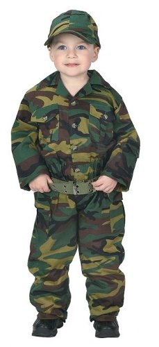 [Jr. Camouflage Suit with Cap & Belt, size 2/3, Green] (Ready For Action Military Costume)