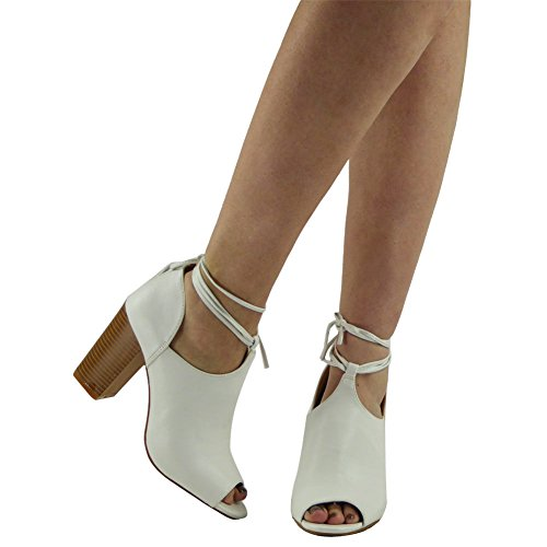 Womens Party Lace Up Peeptoe Sandals Chunky Ladies High Block Heel Shoes Size 3-8 White GTU9x