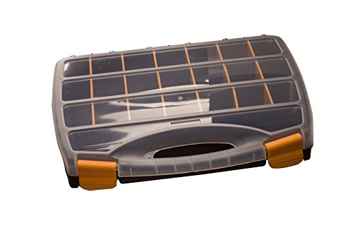 21+1 adjustable compartments secure lid ergo handle storage case clear plastic 12.6x14.6inch by www.Beadingsupplys.com