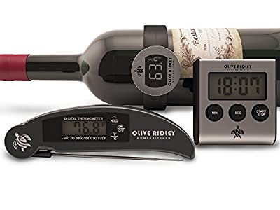 Set of 3: Instant Read Thermometer, Digital Kitchen Food Timer and Wine Bottle Thermometer. Baking, Grilling, Roasting, Fry, Candy, BBQ Prep Accessories Bundle in 1 Nice Gift Box by Olive Ridley