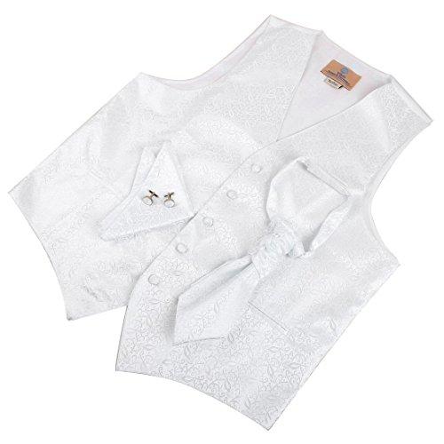 Pattern Fleece Free Vest (VS2004-XL White Pattern Designer Vests Cufflinks Hanky Ascot Tie Set By Y&G)