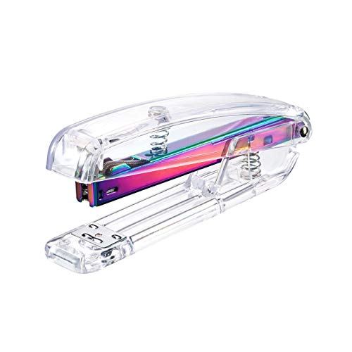 Multicolor Stapler with Staples 1000 Pieces, 25 Pages Capacity, Acrylic Clear Desktop Stapler Offered by Runying - a Classic Modern Design to Brighten up Your Desk, for Office School Home ()
