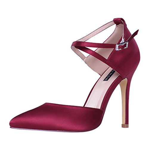 Dress Strap Heel High Prom Evening Pumps Wedding Burgundy Satin Erijunor Ankle Women Shoes EHqIwqOY