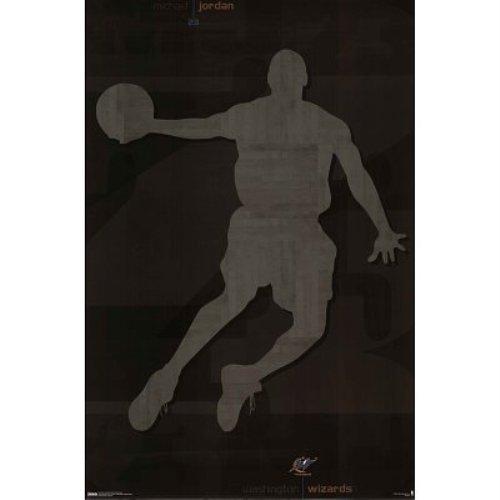 l Jordan Washington Wizards Silhouette 35x23 Sports Art Poster Print (Jordan Silhouette)