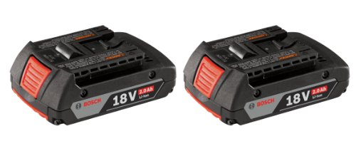 Bosch BAT612-2PK 18-volt Lithium-Ion 2.0 AH Slim Pack Battery with Digital Fuel Gauge, 2-Pack ()