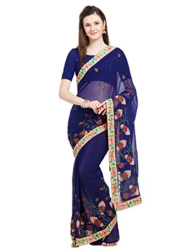 Viva N Diva Saree for Women's Royel Blue Color Marble Chiffon Saree Tassel Border with Un-Stiched Blouse Piece,Free - Saree Border