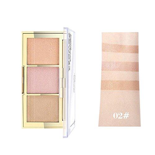 Ochine Makeup Brighten Bronzer&Highlighter 3 Colors Shimmer Matte Contour Glow Kit 3D Face Powder Pallete