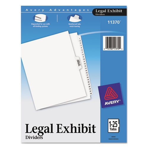 Avery(R) Legal Index Exhibit Dividers, Side Tab, 1-25 8 1/2in. x 11in. ()