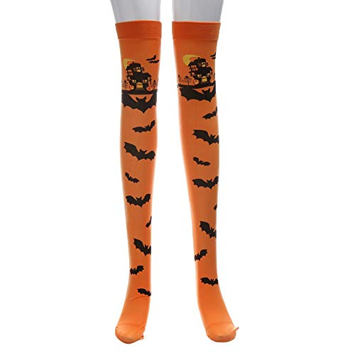 Women Halloween Castle Bats Cosplay Casual Dress Socks Knee Thigh High Stocking for Girls (Orange) ()