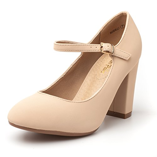 DREAM PAIRS Women's ROSALLI Nude Nubuck High Chunky Heel Pump Shoes - 8.5 B(M) US by DREAM PAIRS