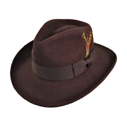 Jaxon Crushable Ford Fedora (Large, Brown)