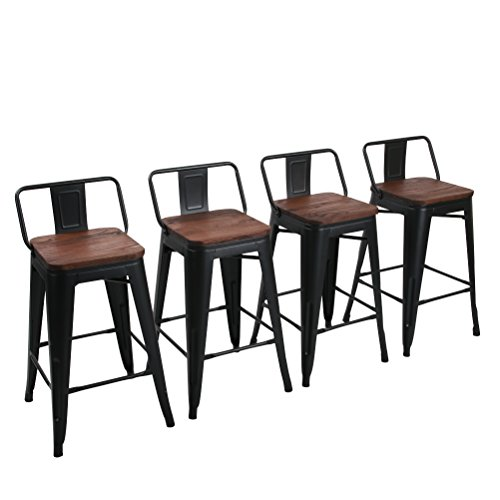 Yongchuang Metal Counter Bar Stool for Indoor-Outdoor Pack of 4 26 , Matte Black Wood Top Low Back