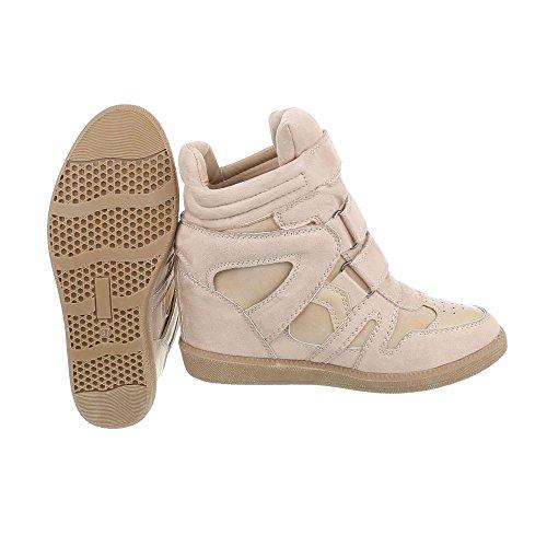 Ital-Design Sneakers High Damenschuhe Keilabsatz/Wedge Keilabsatz Klettverschluss Freizeitschuhe Beige Braun