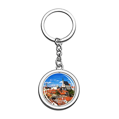 Czech Keychain Cesky Krumlov Castle Key Chain 3D Crystal Spinning Round Stainless Steel Keychains Travel City Souvenirs Key Chain Ring