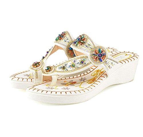en Été Tongs Mode Plein Noir Blanc Blanc air Femmes et épaisse à Chaussures Style Semelle Sandales Muffin Printemps Ethnique et Plage Pantoufles fZwSqdS