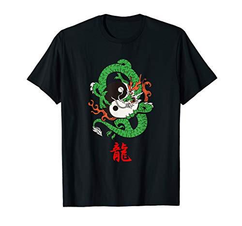 (Dragon T-Shirt Japanese Letter, Red Kanji Writing)