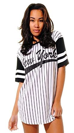 306269f5 NEW WOMENS BASEBALL JERSEY OVERSIZED NEW YORK BASEBALL TOP BLACK T-SHIRT TEE:  Amazon.co.uk: Clothing