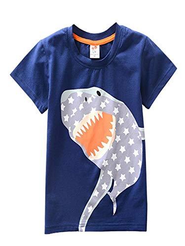 Toddler Kids Blouse Baby Boys Girls T-Shirt Clothes Short Sleeve Cartoon Shark Print Tops (3 years old, Dark Blue)
