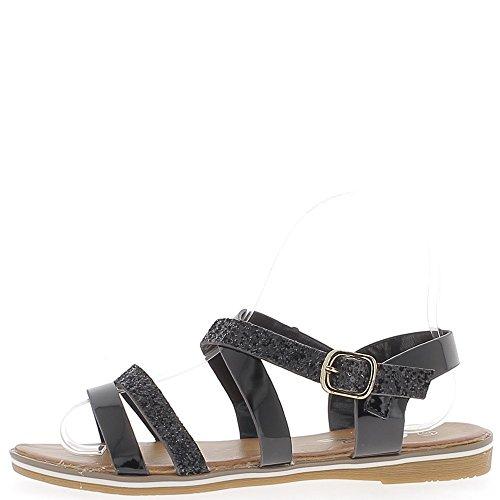 Sandales plates noires aspect cuir verni et paillettes 5 brides