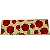 Wolala Home Red Apple Kitchen Rug Mats Latex Back Non-slip Bedside Foot Mat Machine-wash Pets Carpet Thin (13x4, Beige)