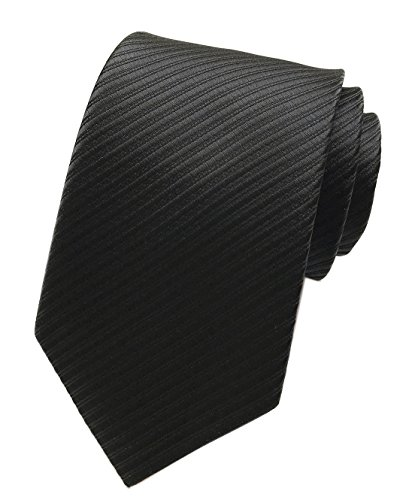 Elfeves Men Striped Black Silk Ties Woven Neckties Creative Design Gift for -