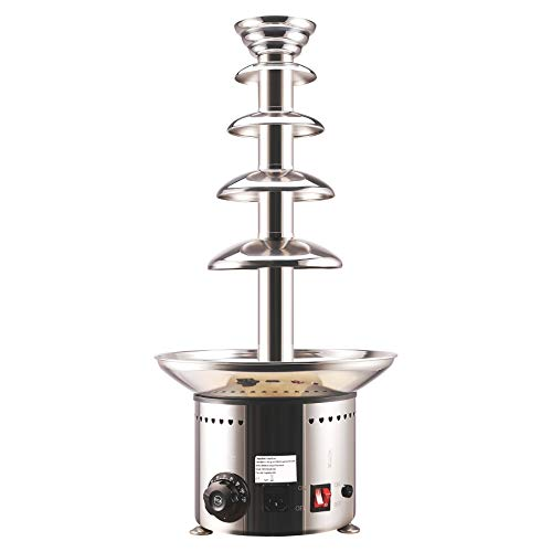 CO-Z 5-Tier Heated Commercial Chocolate Fondue Fountain, 27.6 Inches Stainless Steel 6.6lb to 8.8lb Basin, Auto Temperature Control 86°- 230° F Up to 50 guests Served, For Weddings, Parties, Events